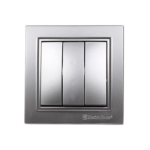 Выключатель тройной Серебряный камень Enzo IP22