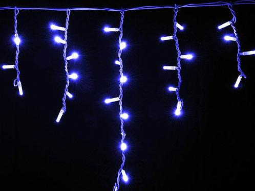 Гирлянда внешняя ICICLE синяя провод белый
