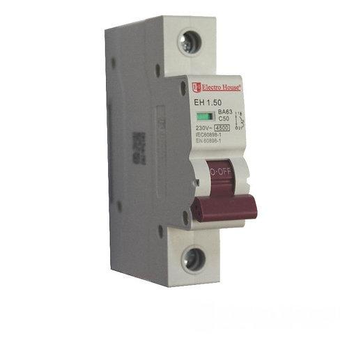 Автоматический выключатель 1P 50A 45kA 230-400V IP20