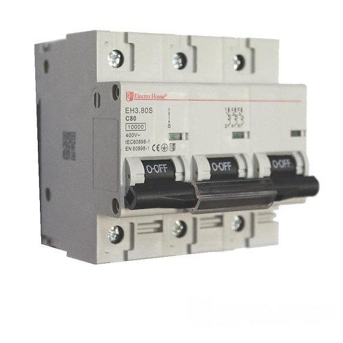 Автоматический выключатель силовой 80A 45kA 230-400V IP20