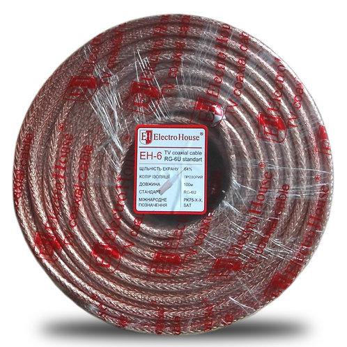 Телевизионный (коаксиальный) кабель RG-6U CCS 102 Cu прозрачный Силикон