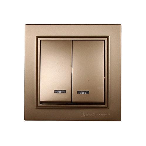 Выключатель с подсветкой двойной Роскошно золотой Enzo IP22
