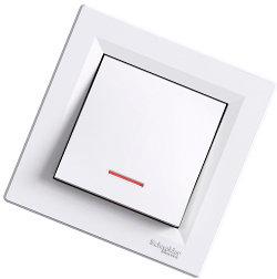 Asfora -1 полюсный выключатель с лампой-индикатором, белый от Schneider Electriс