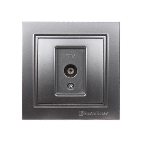 Розетка телевизионная Серебряный камень Enzo IP22