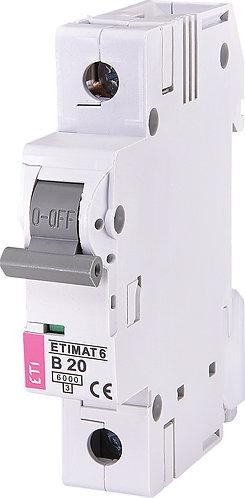 Модульный автоматический выключатель ETIMAT 6 1p B20