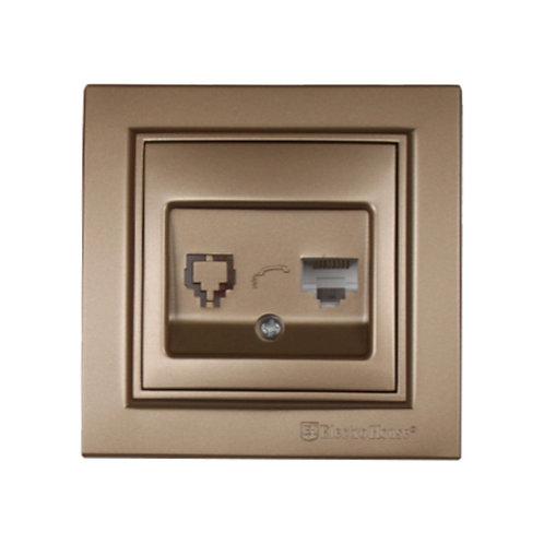 Розетка компьютерная Роскошно золотой Enzo 1x8P8C IP22