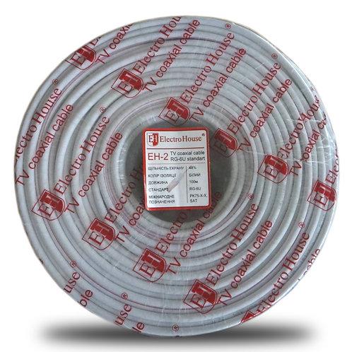 Телевизионный (коаксиальный) кабель  RG-6U CCS 102 Cu белый ПВХ EH-2