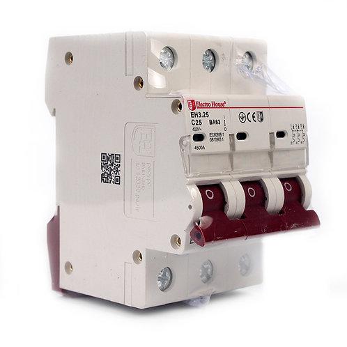 Автоматический выключатель 3P 25A 45kA 230-400V IP20