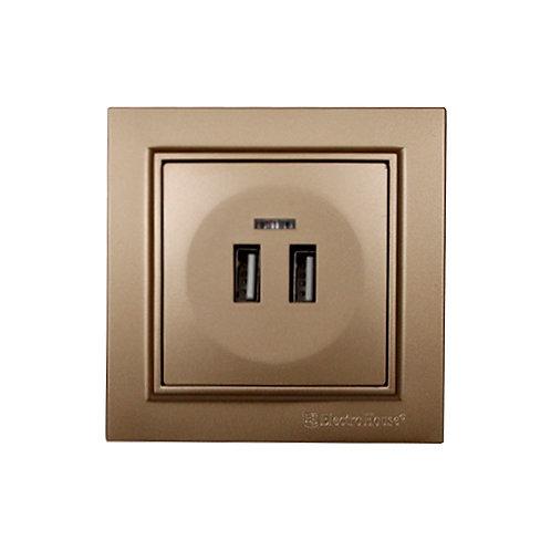 Розетка USB (2 порта) Роскошно золотой Enzo 2A IP22
