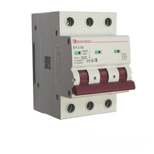 Автоматический выключатель 3P 50A 45kA 230-400V IP20