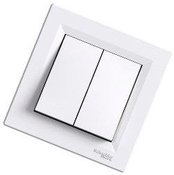 Asfora - двойная 1-контактная кнопка - 10A от Schneider Electric, белая