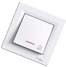 Asfora - 1 полюсная кнопка «лестница» с подсветкой от Schneider Electric, белый