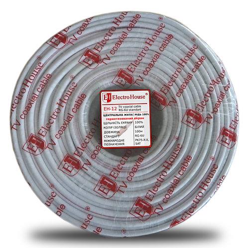 Телевизионный (коаксиальный) кабель RG-6U Cu 102 Cu гермет. фольга белый ПВХ
