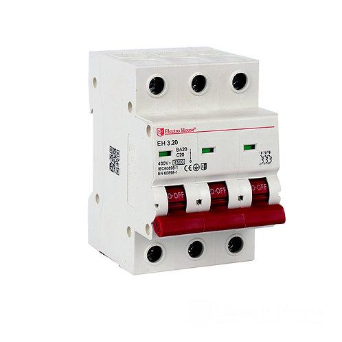 Автоматический выключатель 3P 20А 45kA 230-400V IP20