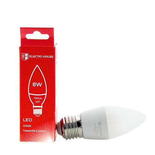 LED лампа свеча E27/4100K/8W 720Lm /180° C37