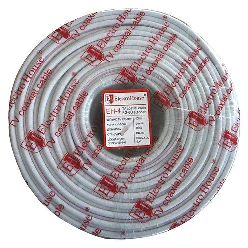 Телевизионный (коаксиальный) кабель RG-6U CCS 102 Cu ПВХ белый