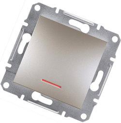 Asfora -1 полюсная кнопка с лампой-индикатором, бронза Schneider Electriс