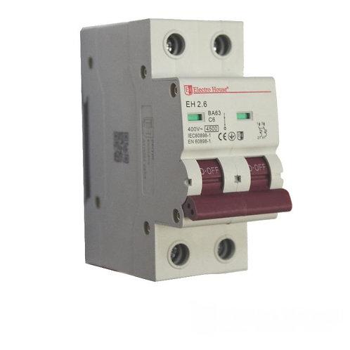 Автоматический выключатель 2P 6A 45kA 220-240V IP20