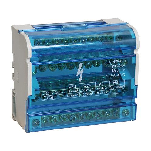 Шина нулевая в корпусе (кросс-модуль) 4X11 125A IP20
