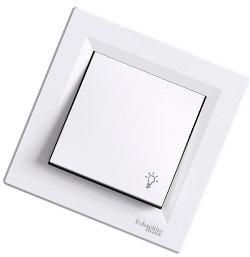 Asfora - 1 полюсная кнопка «свет» от Schneider Electric, белый