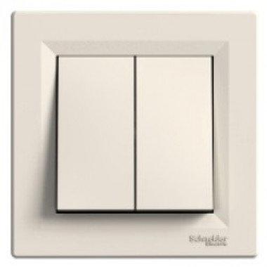 Выключатель 2-клавишный Schneider Electric Asfora, кремовый - описание