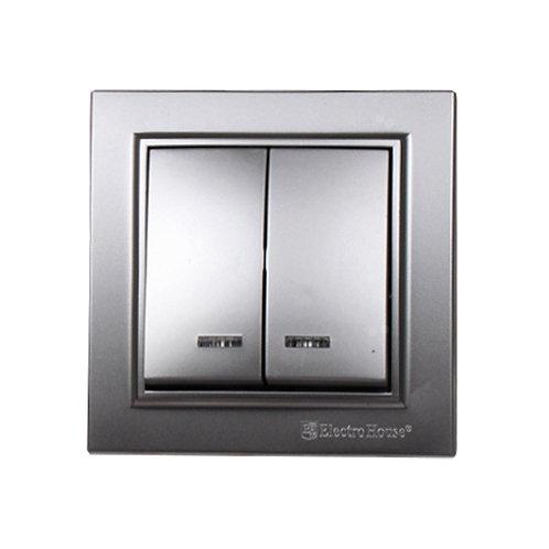 Выключатель с подсветкой двойной Серебряный камень Enzo IP22