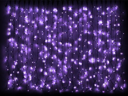 Гирлянда внешняя CURTAIN фиолетовая провод черный 2x1,5 м