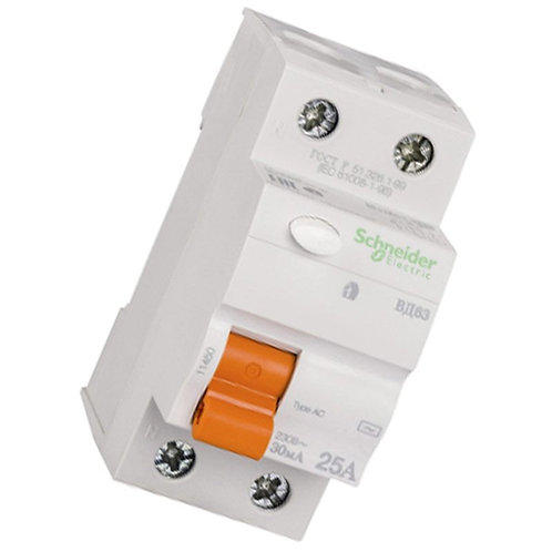 Дифференциальный выключатель нагрузки ВД63 2П 25A Schneider Electric