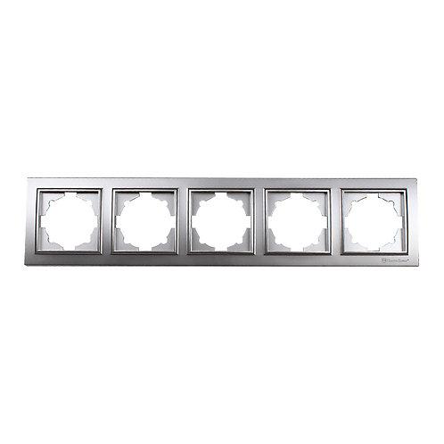 Рамка пятиместная серебро Enzo