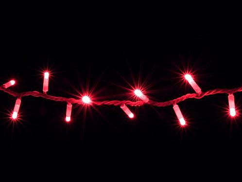 Гирлянда внешняя STRING красная провод белый