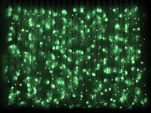 Гирлянда внешняя CURTAIN зеленая провод черный