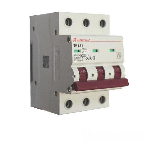 Автоматический выключатель 3P 63A 45kA 230-400V IP20