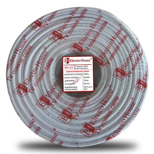 Телевизионный (коаксиальный) кабель RG-6U CCS 102 Cu гермет. фольга белый ПВХ