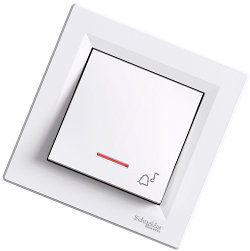 Asfora - 1 полюсная кнопка «звонок» от Schneider Electric, белый