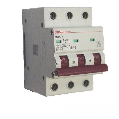 Автоматический выключатель 3P 6A 45kA 230-400V IP20