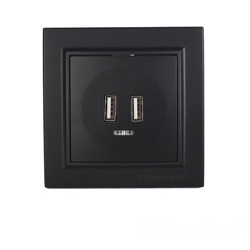 Розетка USB (2 порта) Безупречный графит Enzo 2A IP22