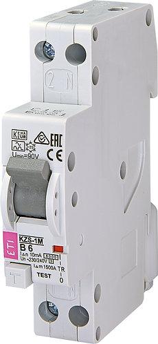 Дифференциальный автоматический выключатель KZS-1M 1p+N A B6/0.01 6kA
