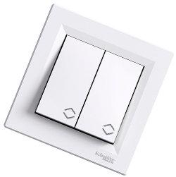 Asfora - проходной выключатель 2-клавишный от Schneider Electric , белый