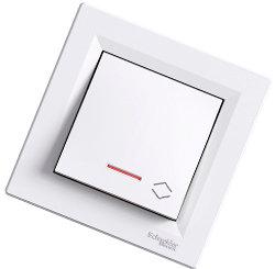 Asfora - Проходной выключатель 1-кл. с подсветкой Schneider Electric белый