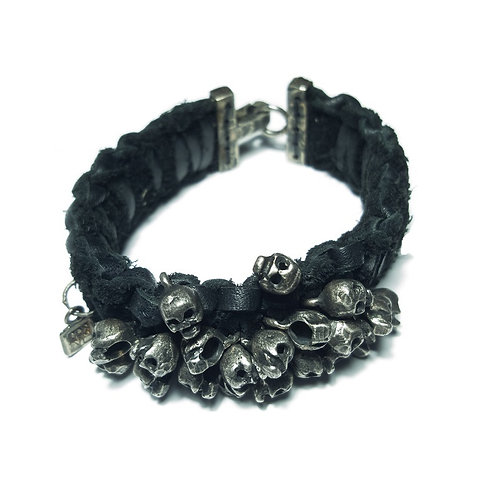 silver and leather bracelet Damned