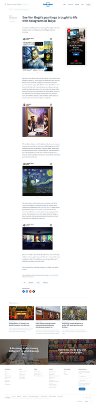 "Lonely planet  - ""See Van Gogh's paintings brought to life with holograms in Tokyo"""