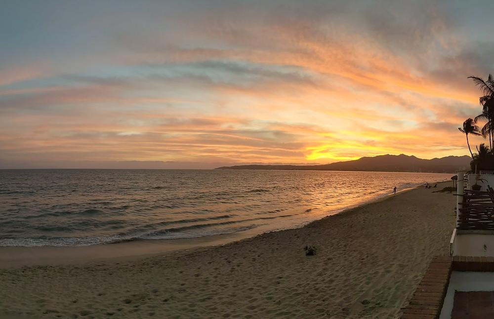 sunset, beach, bucerias sunset, vallarta sunset, colored sky, mexican beach sunset