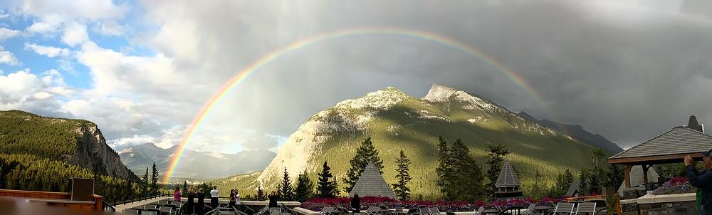 full rainbow, Banff, Canada, Banff hotel, mountain rainbow