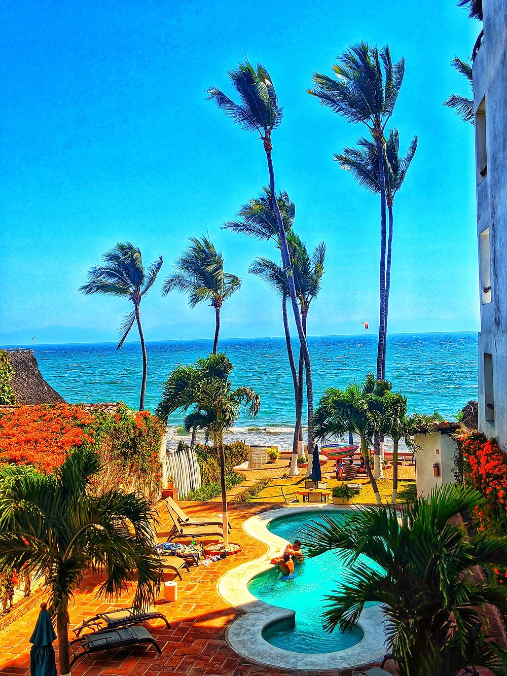 Casa Blanca, Beach House, Beach view, Bucerias Beach, Palm Trees, Pool and Ocean