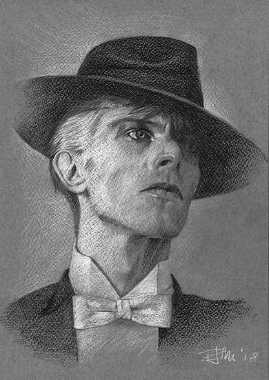 Bowie Drawings – White Tie, Black Fedora
