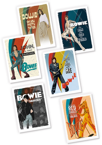 Official Bowie postcard and greetings card designs
