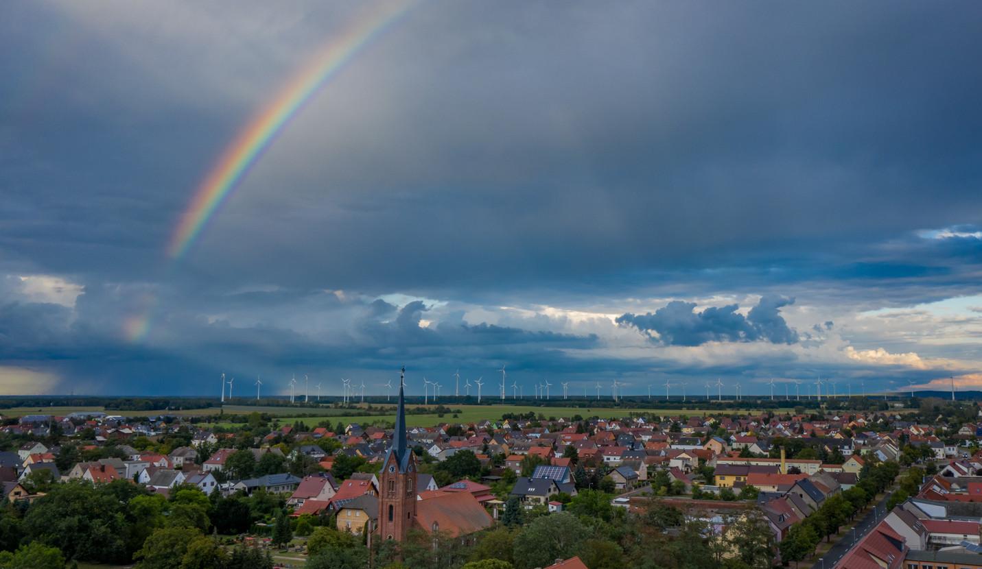 Luftbildaufnahme Regenbogen Elster