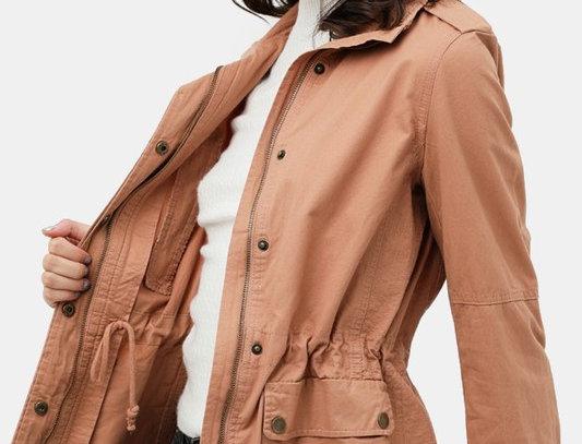 Long Sleeves Utility Anorak Zip Up Military Jacket
