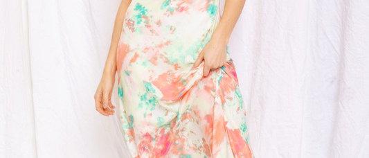 Coral Multi Tie Dye Dress