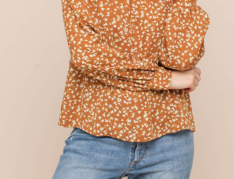 Woven Printed Mustard Blouse